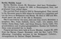 Bertha Matilda <i>Carter</i> Acord