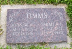 Sarah Ann <i>Latimer</i> Timms