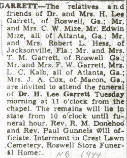 Dr H. Lee Garrett