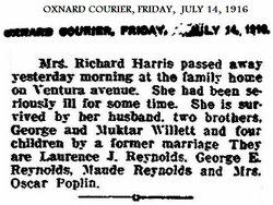 Augusta Gussie <i>WILLETT REYNOLDS</i> Harris