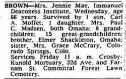 Jennie Mae <i>Shackleton</i> Moffet Brown