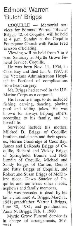 Edmond Warren Butch Briggs