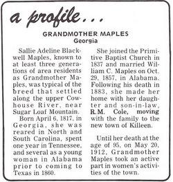 Sarah Adeline Sallie <i>Blackwell</i> Maples