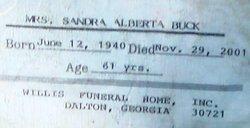 Sandra Alberta <i>Curtis</i> Buck