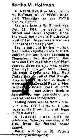 Albertha Bertha <i>Rock</i> Hoffman