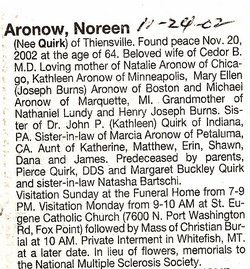 Noreen <i>Quirk</i> Aronow
