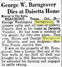 George Washington Barngrover