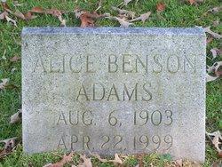 Alice <i>Benson</i> Adams