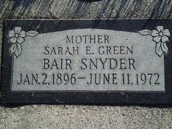 Sarah E <i>Green</i> Bair Snyder