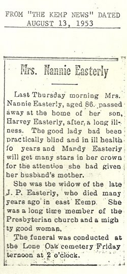 Nancy Bell Nannie <i>Griffin</i> Easterly