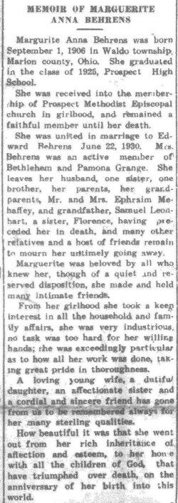 Marguerite Anna <i>Mehaffey</i> Behrens