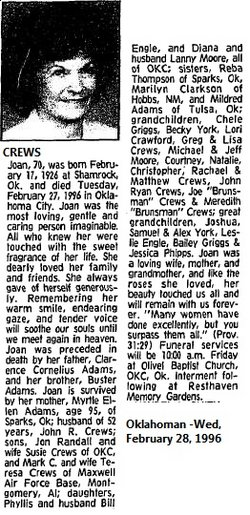 Hilda Joan <i>Adams</i> Crews