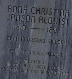 Anna Christina <i>Janson</i> Alquist