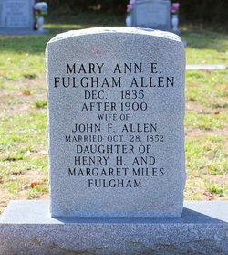 Mary Ann Eleanor <i>Fulgham</i> Allen