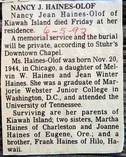 Nancy Jean <i>Haines</i> Olof
