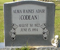 Alma Mandie Codean <i>Raines</i> Adair