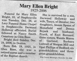Mary Ellen <i>McCarty</i> Holloway Bright