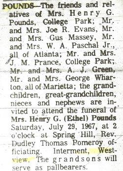 Ethel <i>Whorton</i> Pounds