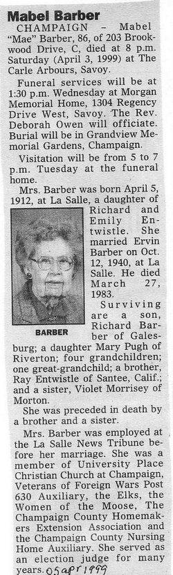 Mabel C Mae <i>Entwistle</i> Barber
