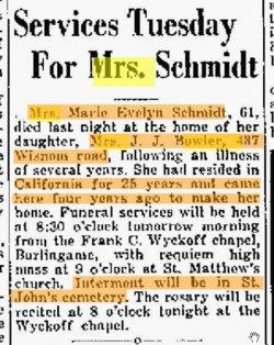 Marie Evelyn Mamie <i>Wyman</i> Schmidt