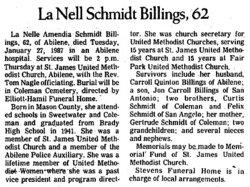 La Nell Amendia <i>Schmidt</i> Billings