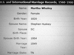 Martha Patsy Marthy <i>Whaley</i> Huskey