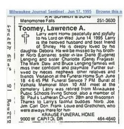 Lawrence A Larry Toomey