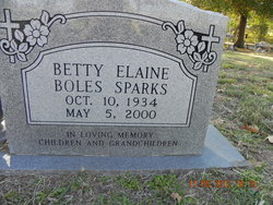 Betty Elaine <i>Boles</i> Sparks