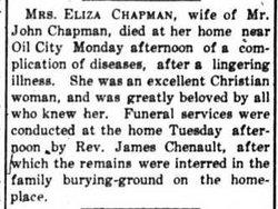 Eliza J. Lizzie <i>Cox</i> Chapman