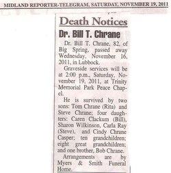 Dr Bill T. Chrane