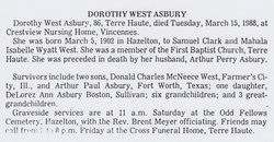 Dorothy Ann <i>West</i> Asbury