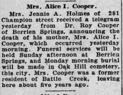 Alice J <i>Frisbie</i> Cooper
