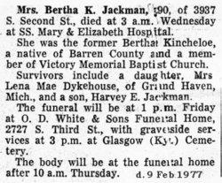 Bertha K. <i>Kincheloe</i> Jackman