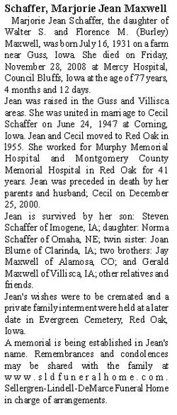 Marjorie Jean <i>Maxwell</i> Schaffer