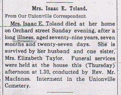 Harriet W. <i>Wisner</i> Toland