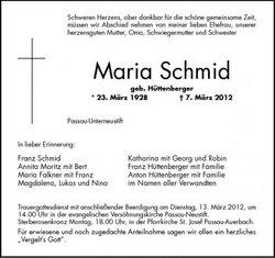 Maria <i>H�ttenberger</i> Schmid
