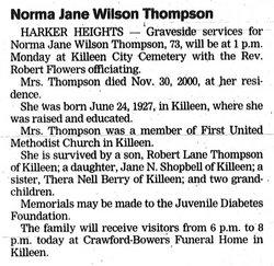 Norma Jane <i>Wilson</i> Thompson