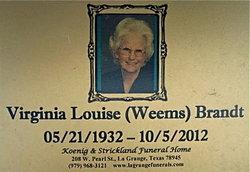 Virginia Louise <i>Weems</i> Brandt