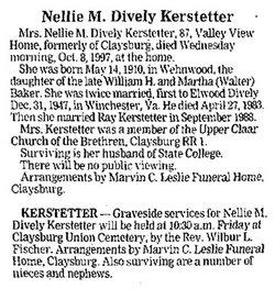 Nellie M. <i>Baker</i> Kerstetter
