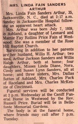 Linda L. <i>Fain</i> Arthur