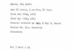 Ida Mable <i>Maxwell</i> Bacon