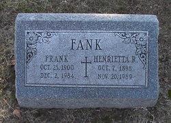 Henrietta (Yettie) <i>Sebold</i> Fank
