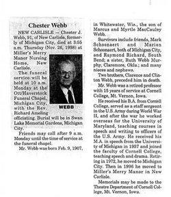 Chester J Chet Webb