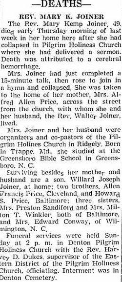 Rev Mary Kemp <i>Price</i> Joiner