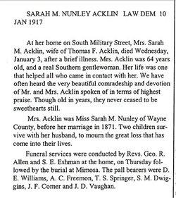 Sarah M <i>Nunley</i> Acklin