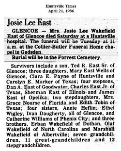 Josie Lee <i>Wakefield</i> East