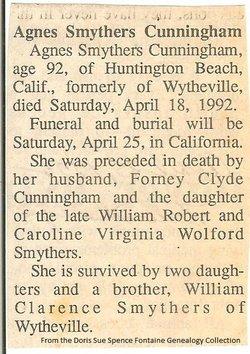 Agnes Louise <i>Smythers</i> Cunningham