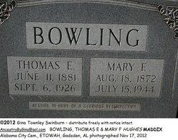 Mary Frances <i>Hughes Maddix</i> Bowling