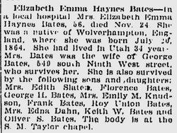 Eliza Emma <i>Haynes</i> Bates