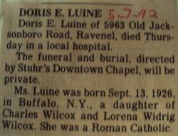 Doris E. <i>Wilcox</i> Luine